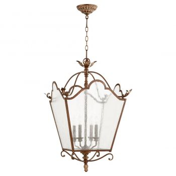 "Quorum Salento 18.5"" 4-Light Entry Chandelier in Vintage Copper"
