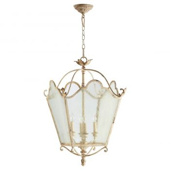 "Quorum Salento 18.5"" 4-Light Entry Chandelier in Persian White"