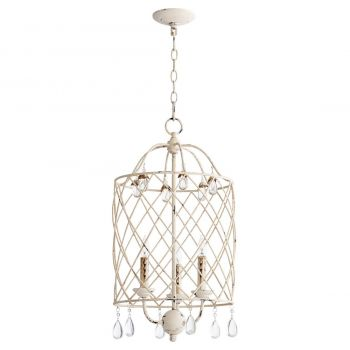 "Quorum Venice 13.5"" 3-Light Entry Chandelier in Persian White"