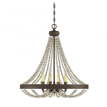"""Savoy House Mallory 26"""" 4-Light Chandelier in Fossil Stone"""