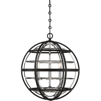 "Savoy House Vega 18"" 3-Light Pendant in Black/Chrome"