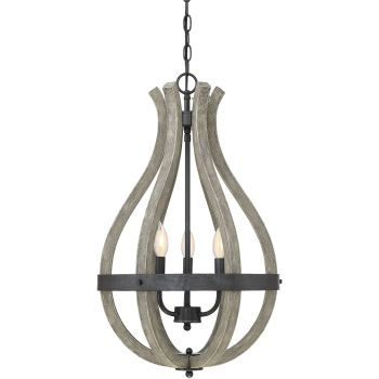 "Savoy House Carrolton 16"" 3-Light Pendant in Weathered Birch"