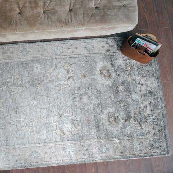 Uttermost Tashi 6 x 9 Bamboo Yarn Rug in Gray/Beige/Blue