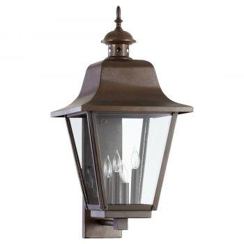 """Quorum International Bishop 4-Light 28"""" Outdoor Wall Light in Oiled Bronze"""