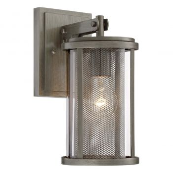 """The Great Outdoors Radian 13"""" Outdoor Wall Light in Painted Brushed Nickel"""