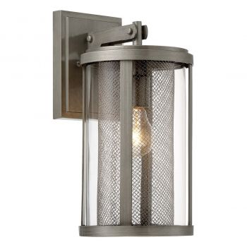 """The Great Outdoors Radian 15"""" Outdoor Wall Light in Painted Brushed Nickel"""