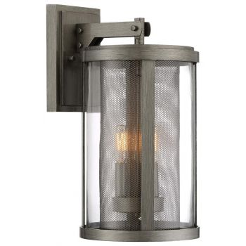 """The Great Outdoors Radian 3-Light 18"""" Outdoor Wall Light in Painted Brushed Nickel"""