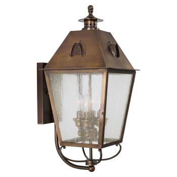 """The Great Outdoors Erenshire 4-Light 22"""" Outdoor Wall Light in English Brass"""