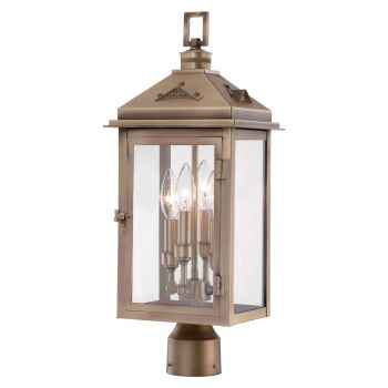 "The Great Outdoors Eastbury 4-Light 22"" Outdoor Post Light in Colonial Brass"