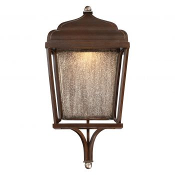 "The Great Outdoors Astrapia 19"" Outdoor Wall Light in Dark Rubbed Sienna with Aged S"