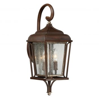 "The Great Outdoors Astrapia 2-Light 20"" Outdoor Wall Light in Dark Rubbed Sienna with Aged S"