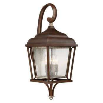 "The Great Outdoors Astrapia 4-Light 28"" Outdoor Wall Light in Dark Rubbed Sienna with Aged S"