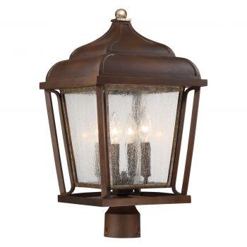 Minka Lavery Astrapia II 4-Light Outdoor Post Lantern in Dark Rubbed Sienna