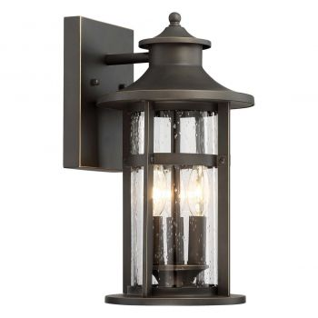"The Great Outdoors Highland Ridge 3-Light 15"" Outdoor Wall Light in Oil Rubbed Bronze with Gold High"