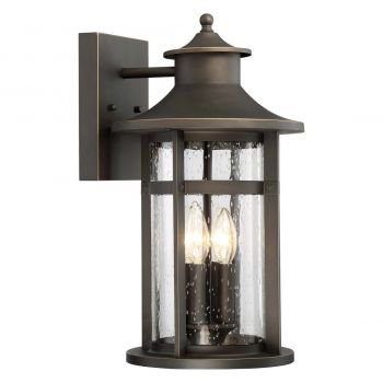 """The Great Outdoors Highland Ridge 4-Light 18"""" Outdoor Wall Light in Oil Rubbed Bronze with Gold High"""