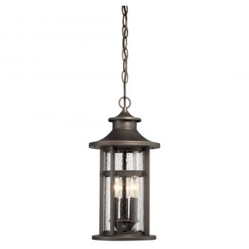 "The Great Outdoors Highland Ridge 4-Light 19"" Outdoor Hanging Light in Oil Rubbed Bronze with Gold High"