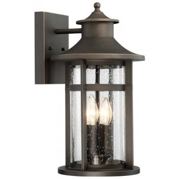 """The Great Outdoors Highland Ridge 4-Light 21"""" Outdoor Wall Light in Oil Rubbed Bronze with Gold High"""