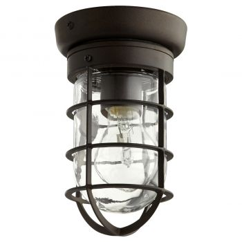 """Quorum Bowery 4.5"""" Outdoor Ceiling Light in Oiled Bronze"""