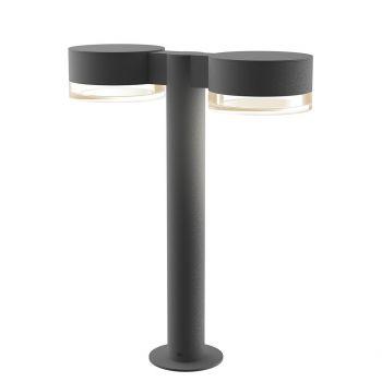 "Sonneman REALS 16"" 2-Light Clear Acrylic LED Bollard in Textured Gray"