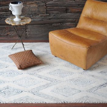 Uttermost Marcus 5 x 8 Rug in Ivory/Rescued Denim