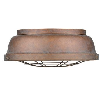 Golden Lighting Bartlett Flush Mount in Copper Patina