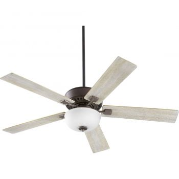 "Quorum International Rothman 2-Light 52"" Indoor Ceiling Fan in Oiled Bronze with Satin Opal"