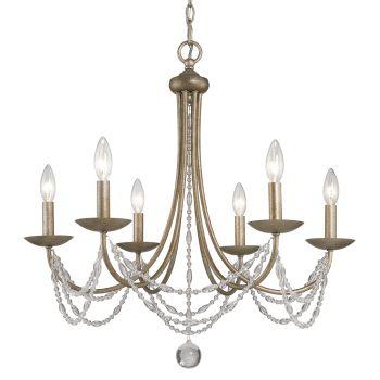 Golden Lighting Mirabella 6-Light Chandelier in Golden Aura w/ metal candlesticks