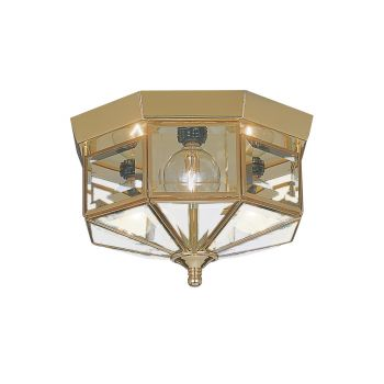 Sea Gull Lighting Grandover 3-Light Ceiling Flush Mount in Polished Brass