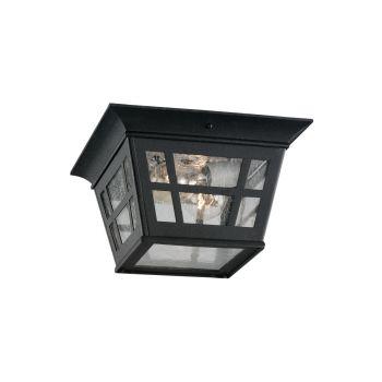 Sea Gull Lighting Herrington 2-Light Outdoor Ceiling Flush Mount in Black