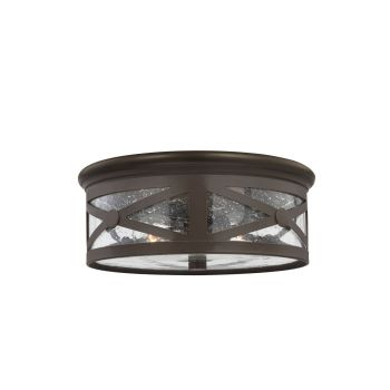 Sea Gull Lighting Lakeview 2-Light Outdoor Ceiling Flush Mount in Antique Bronze