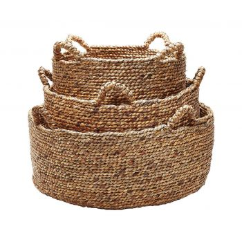 ELK S/3 Natural Low Rise Baskets With H in Brown