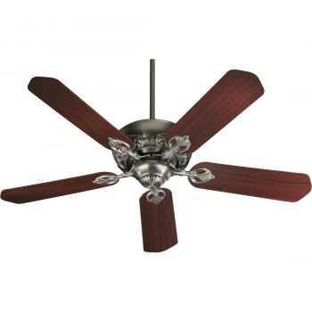 "Quorum Chateaux 52"" 5-Blade Ceiling Fan in Antique Silver"