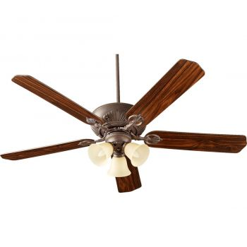 "Quorum Chateaux Uni-Pack 60"" 3-Light Amber Ceiling Fan in Toasted Sienna"