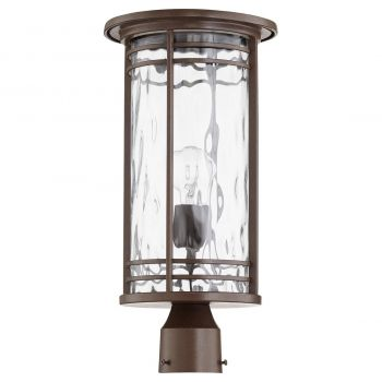 "Quorum International Larson 19"" Outdoor Post Light in Oiled Bronze with Clear Hammered Glass"