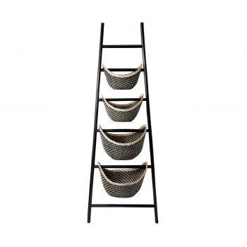 ELK Black Plaid Ladder Basket in Black