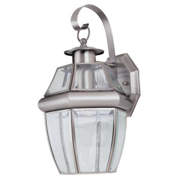 Sea Gull Lighting Lancaster Outdoor Wall Lantern in Antique Brushed Nickel