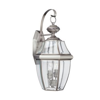 Sea Gull Lighting Lancaster 2-Light Outdoor Wall Lantern in Antique Brushed Nickel