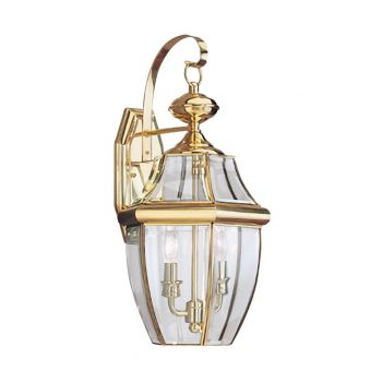 "Sea Gull Lancaster 20.5"" 2-Light Outdoor Wall Lantern in Polished Brass"