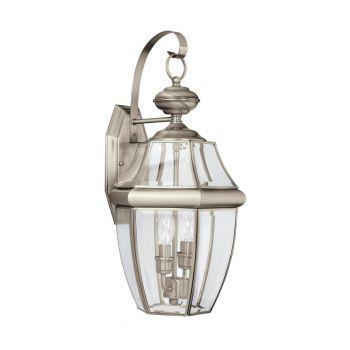 """Sea Gull Lancaster 20.5"""" 2-Light Outdoor Wall Lantern in Antique Nickel"""
