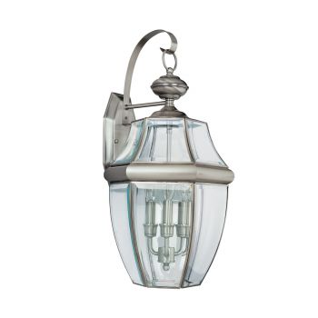 Sea Gull Lighting Lancaster 3-Light Outdoor Wall Lantern in Antique Brushed Nickel