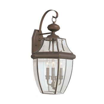 "Sea Gull Lancaster 23"" 3-Light Outdoor Wall Lantern in Antique Bronze"