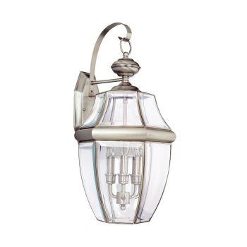"""Sea Gull Lancaster 23"""" 3-Light Outdoor Wall Lantern in Antique Nickel"""
