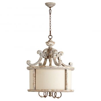 "Quorum La Maison 25.25"" 4-Light Pendant in Manchester Gray/Rust"