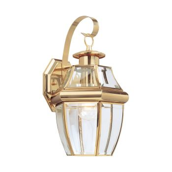 Sea Gull Lighting Lancaster 1-Light Outdoor Wall Lantern in Polished Brass