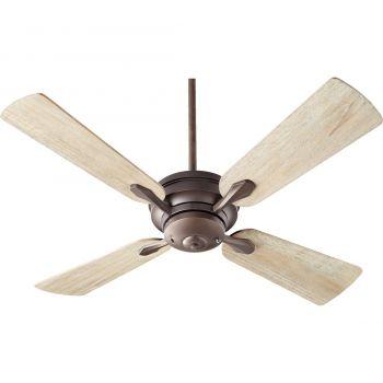 """Quorum Valor 52"""" Indoor Ceiling Fan w/ Weathered Oak in Oiled Bronze"""