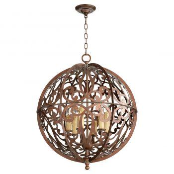 """Quorum Montgomery 24"""" 6-Light Chandelier in Vintage Copper"""