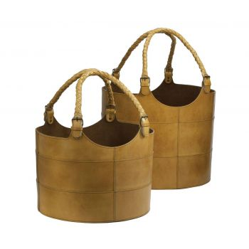 ELK S/2 Nested Caramel Leather Buckets in Brown