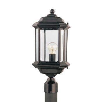 Sea Gull Lighting Kent 1-Light Outdoor Post Lantern in Black