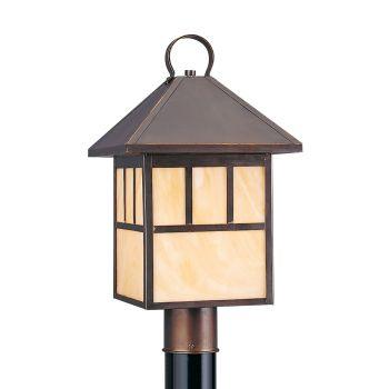 Sea Gull Lighting Prairie Statement 1-Light Outdoor Post Lantern in Antique Bronze