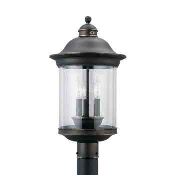 Sea Gull Lighting Hermitage 3-Light Outdoor Post Lantern in Antique Bronze